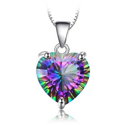 £3.97 • Buy Heart Crystal Pendant 925 Sterling Silver Chain Necklace Womens Girls Jewellery