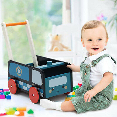 Kids Blue Wooden Push Along Walker Toy Baby First Step Mobility Learn Stand Toys • 34.89£