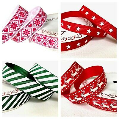 £1.15 • Buy Bertie's Bows Red & Green Christmas Ribbons Candy Stripe Snowflake Merry Owl 2M