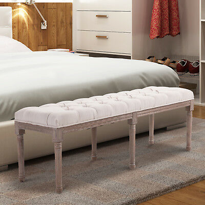 Stool Bench Chic Button Tufted 3 Person Bedside Seat End Hallway Linen Beige • 89.99£