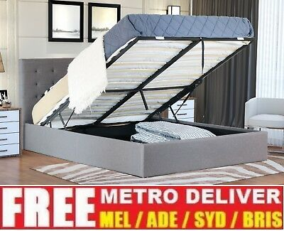 AU275 • Buy Alexander Gas Lift Double Queen King Size Grey Fabric Bed Frame