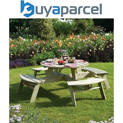 Rowlinson Wooden Round Picnic Table Bench 8 Seater Garden Patio Pub • 257.49£