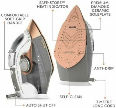 View Details Breville VIN401 DiamondXpress Steam Iron 70g/min Anti Scale Vertical Steam 3100w • 31.99£