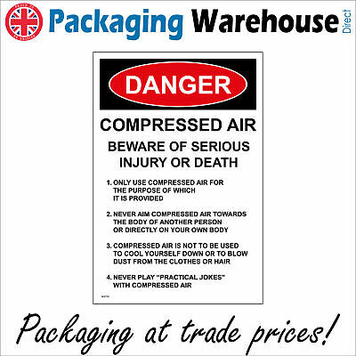Danger Compressed Air Serious Injury Or Death Sign Ws725 Safety Sticker Rigid • 2.95£