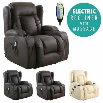 £374.99 • Buy Caesar Electric Leather Auto Recliner Massage Heated Gaming Wing Sofa Chair