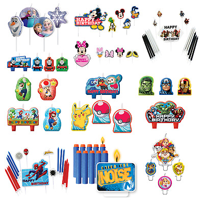 Licensed Character BIRTHDAY CAKE CANDLES - Party Decorations Kids Picks Plaques • 3.99£