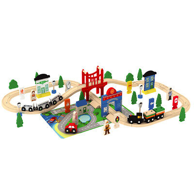 Wooden 80 Pcs Busy City & Train Set Railway Track Toy Brio Bigjigs Compatible  • 28.99£