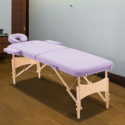 Portable Massage Table Beauty Therapy Facial Spa Salon Couch Bed Wooden Legs • 69.99£