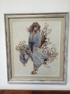 Finished Framed Completed Cross Stitch(linen) - Romantic Lady • 255£