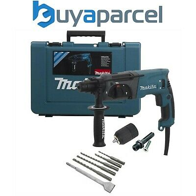View Details Makita 240v SDS + 3 Mode Rotary Hammer Drill HR2470 + 5 SDS Bits Chisel + Chuck • 114.99£