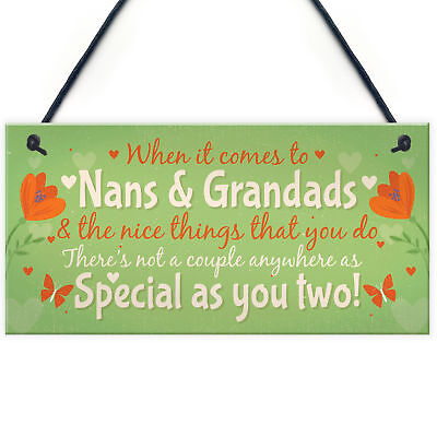 £3.99 • Buy Gifts For NAN And GRANDAD Hanging Plaque Thank You Gift Keespake Family Sign