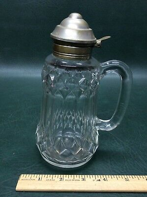 $12 • Buy Early Antique Glass Syrup Molasses Jug Pitcher Blown Molded