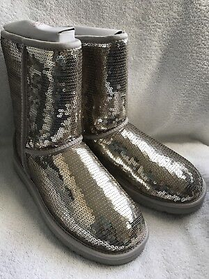 c225465f544 Ugg Classic Short Sparkles Silver Sequin Leather Boots Women's 7 NWOB •  149.99$