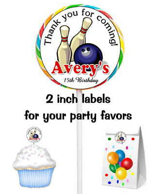 20 Bowling Birthday Party Favors Stickers Labels For Lollipops Goody Bags • 4.61£