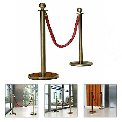 $ CDN68.38 • Buy 2xPolished Gold Stainless Steel Queue Rope Barrier Posts With 1.5m Rope-Choose