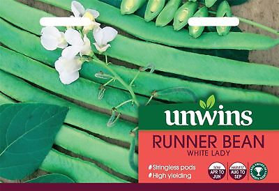 Unwins Pictorial Packet - Runner Bean White Lady - 40 Seeds • 3.49£