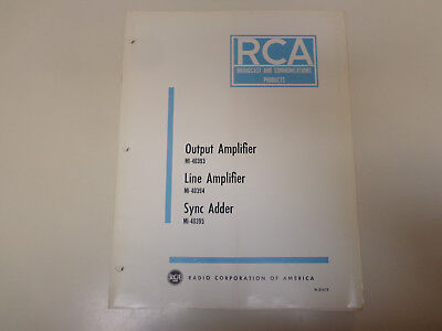 $19.99 • Buy RCA Output Line Amplifier Broadcast Television Instruction Manual 1960's