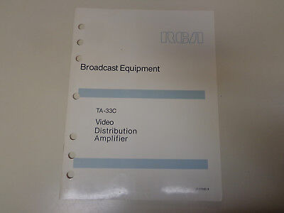 $19.99 • Buy RCA TA-33C Video Amplifier Broadcast Television Instruction Manual