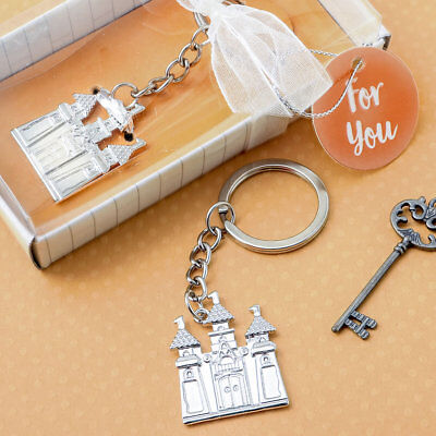 30-144 Silver Castle Key Chain - Fairy Tale Themed Wedding Shower Party Favors • 38£