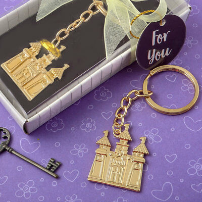 30-144 Gold Castle Key Chain - Fairy Tale Themed Wedding Shower Party Favors • 38£