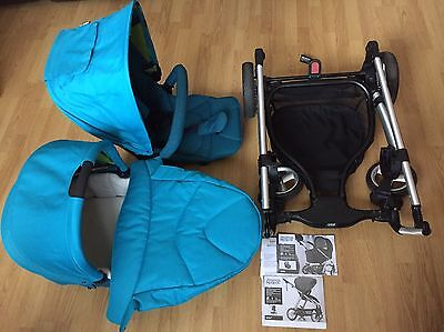 £145 • Buy Used Mamas & Papas Sola2 Blue Sea Pushchair & Carrycot - Very Good Condition