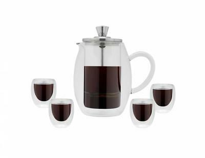 Grunwerg Double Wall Glass Cafetiere Set Of 4 Glasses Coffee Kitchen Drink New • 36.34£