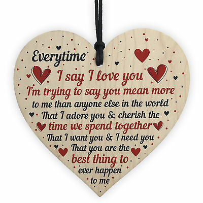 I Love You Plaque Heart Special Anniversary Valentines Day Gift For Husband Wife • 3.99£