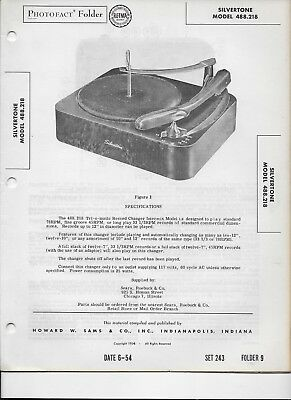 $ CDN5.51 • Buy 1954 PHOTOFACT Silvertone Turntable Record Player Chassis 488.218 Manual #247