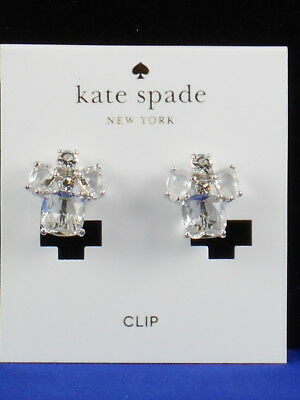 $ CDN27.73 • Buy Kate Spade Silver MAKE ME BLUSH Crystal Cluster Clip On Earrings WBRUC672 $58
