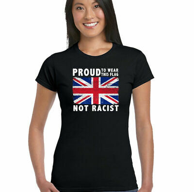 £8.95 • Buy Proud Womens Union Jack Flag T-Shirt Immigration Rugby Football St Georges Day