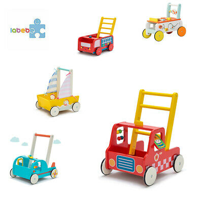 Baby First Steps Push Along Walker Activity Toy Mobility Wooden Pull Storage Box • 39.99£