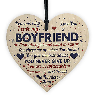 Perfect Romantic Valentines Gift For Your Boyfriend Wood Heart Anniversary Gift • 3.99£