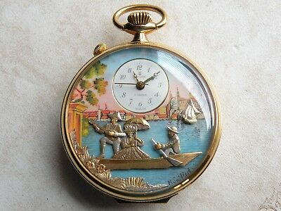 Rare  Vintage  Gold Plated  Reuge   Musical  Alarm  Automaton   Pocket Watch • 2,200£