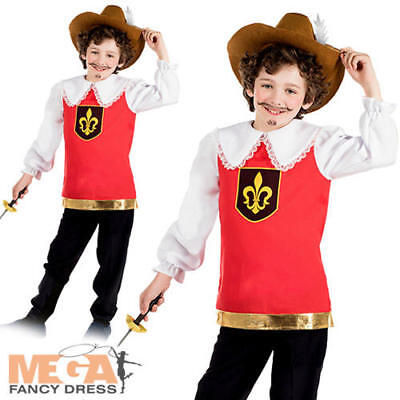 Musketeer Boys Fancy Dress 3 Musketeers French Cavalier Kids Book Day Costume  • 10.99£