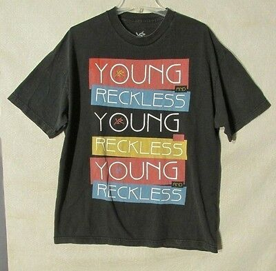 S5740 Young & Reckless Men's XL Black Short Sleeve Graphic T-Shirt With Logo • 20.28£
