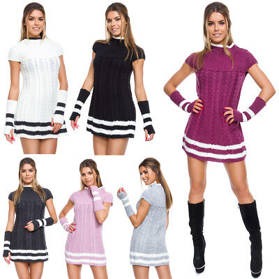 £14.99 • Buy Womens Cable Knit Mini Dress Short Sleeves & Gloves Ladies Sweater Tunic FT5624