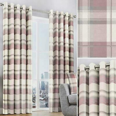 Pink Eyelet Curtains Blush Balmoral Tartan Check Ready Made Lined Ring Top Pairs • 46.95£