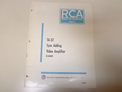 $19.99 • Buy RCA TA-32 Sync Adding Video Amplifier Broadcast TV Instruction Manual