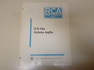 $19.99 • Buy RCA TA-33 Video Amplifier Broadcast Television Instruction Manual