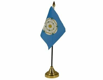 Yorkshire Table Flag Plastic Polyester Gold Base 27cm Tall • 3.99£