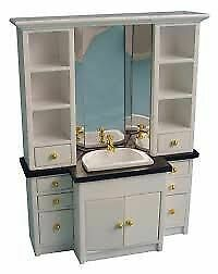 1/12 Streets Ahead Dolls House Deluxe White Bathroom Cabinet DF990 • 13.45£