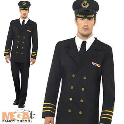 Navy Officer Mens Fancy Dress 1940s 40s WW2 Uniform Adult Wartime Costume Outfit • 30.99£