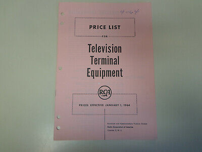 $19.99 • Buy RCA Broadcast Television Terminal Equipment Catalog 1964 TV Price List Only