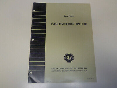 $15.99 • Buy RCA TA-4A Amplifier Studio Broadcast Television TV Instruction Manual
