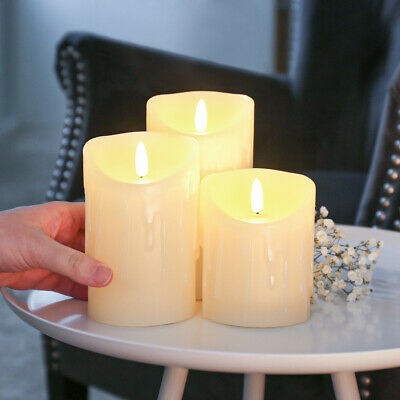 £10.99 • Buy Authentic Flame Battery Dripping Wax Flickering LED Pillar Candle Lights