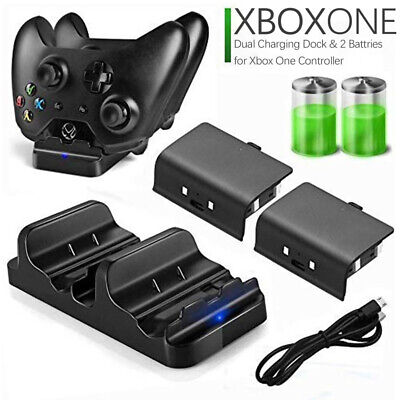 For Xbox One /S Dual Charging Dock Controller Charger +2X Rechargeable Batteries • 12.59$