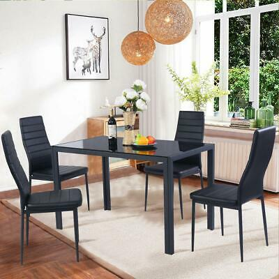 $188.59 • Buy Set Of 5 Pcs Dining Table 4 Chairs Metal Glass Kitchen Room Breakfast New
