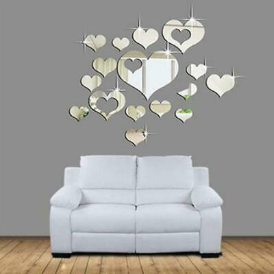 Mirror Love Hearts Wall Sticker Decal Home Living Room Bedroom Decoration New LA • 3.40£