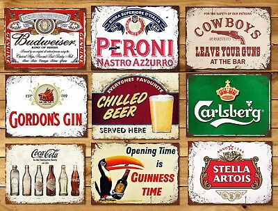 Metal Home Bar Pub Signs Plaques Vintage Retro Style Gin Peroni Mancave Beer  • 7.99£
