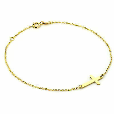 £57 • Buy Fine 9ct Yellow Gold Trace Chain Bracelet With Cross Christian Faith 7.5 Inches